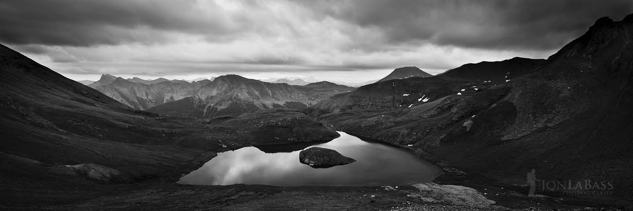 Black & White, Black and White, Clouds, Colorado, Colorado Rockies, Colorado Rocky Mountains, Ice Lake Basin, Island Lake, Lake, Mountain Peaks, Mountains, Red, Reflection, Rockies, Rocks, Rocky Mountains, San Juan National Forest, Storm, Summer, United States, Water, Pano, Panorama, Panoramic