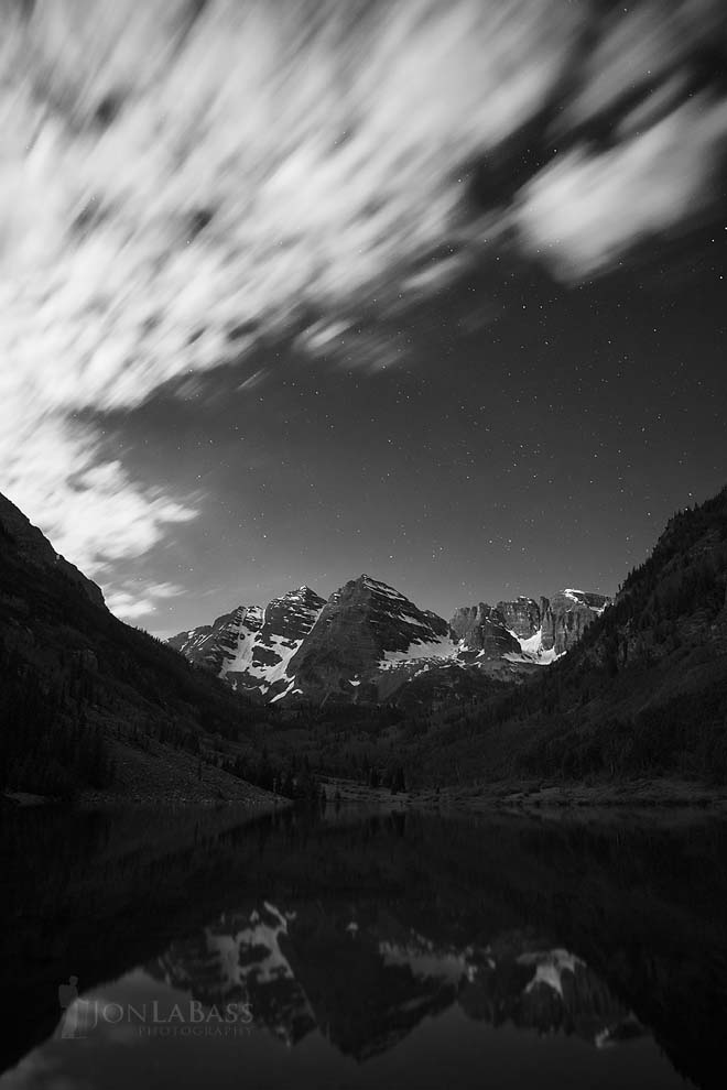 Aspen, Aspen Trees, Black & White, Black and White, Clouds, Colorado, Colorado Rockies, Colorado Rocky Mountains, Elk Mountains, Maroon Bells, Maroon Lake, Moonlight, Night, Nighttime, Reflection, Rockies, Rocky Mountains, Sky, Snowmass Wilderness, Stars, United States, White River National Forest