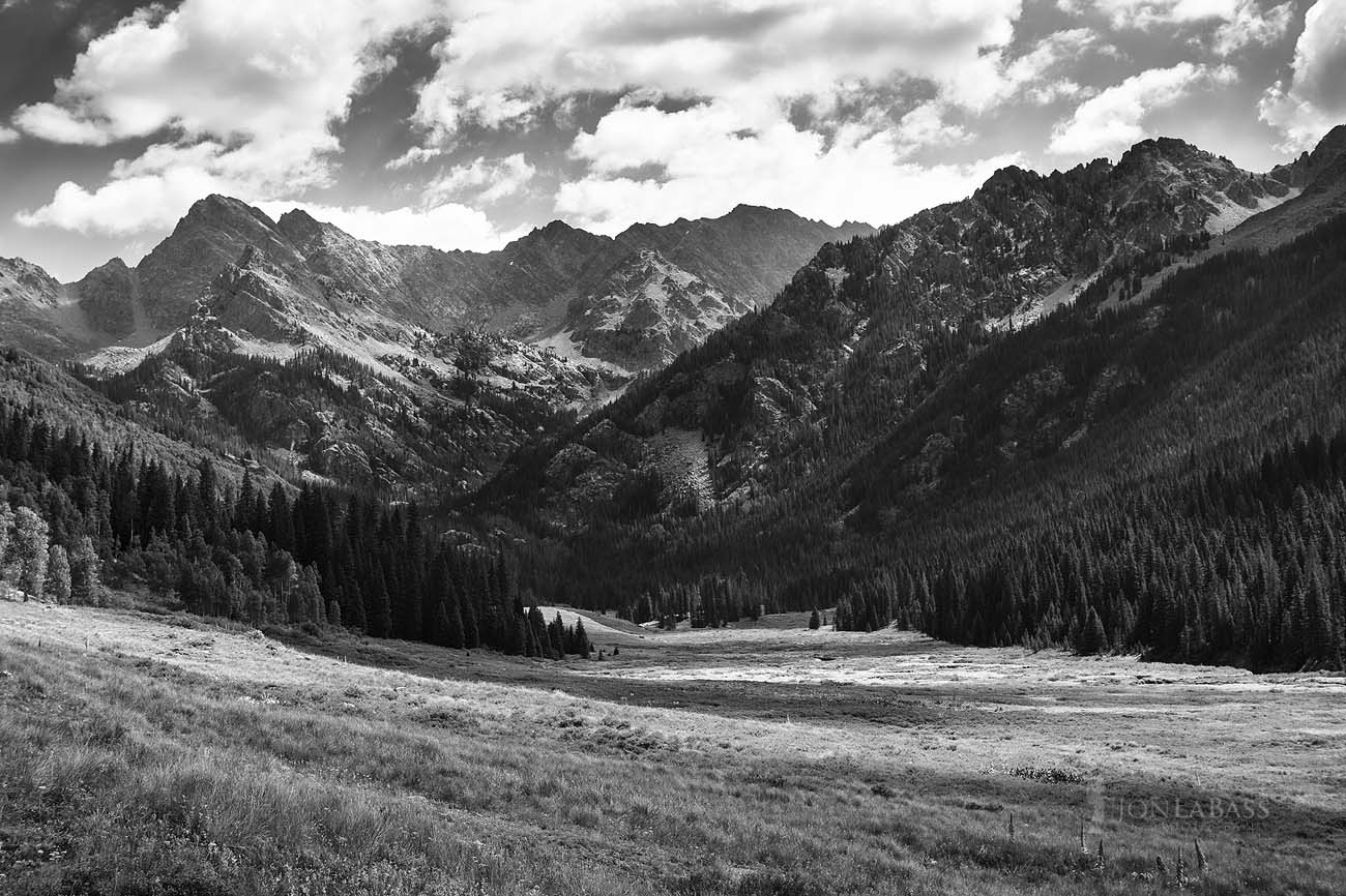 Colorado, Colorado Rockies, Colorado Rocky Mountains, Afternoon, White River National Forest, United States, Summer, Vail, Piney Lake, Clouds, Black and White, Black & White