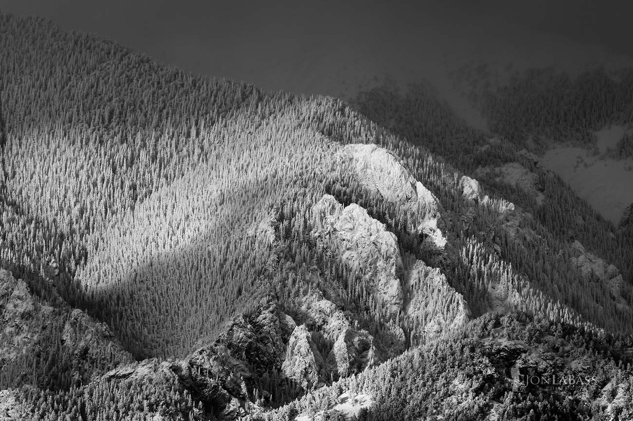 Afternoon, Atmosphere, Black & White, Black and White, Clouds, Colorado, Colorado Rockies, Colorado Rocky Mountains, Great Sand Dunes, Illuminated, Layers, Light, Mountain Peaks, Mountains, National Parks, Rockies, Rocky Mountains, Sangre de Cristo Mountains, Sangre de Cristo Wilderness, Shadows, Snow, Trees, United States, Winter