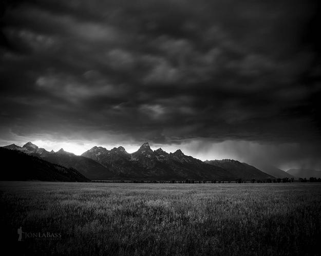 Atmosphere, Black & White, Black and White, Clouds, Grand Tetons, National Parks, Rain, Rockies, Rocky Mountains, Storm, Summer, Sunset, Thunderstorm, United States, Weather, Wyoming