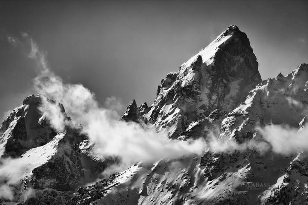 Black & White, Black and White, Clouds, Grand Tetons, Mountain Peaks, Mountains, National Parks, Snow, United States, White, Winter, Wyoming
