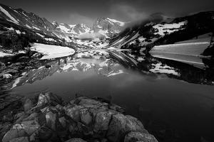 Arapaho National Forest, Atmosphere, Black & White, Black and White, Clouds, Colorado, Colorado Rockies, Colorado Rocky Mountains, Fog, Indian Peaks Wilderness, Lake, Lake Isabelle, Morning, Mountain Peaks, Mountains, Rockies, Rocks, Rocky Mountains, Sky, Snow, Summer, Trees, United States