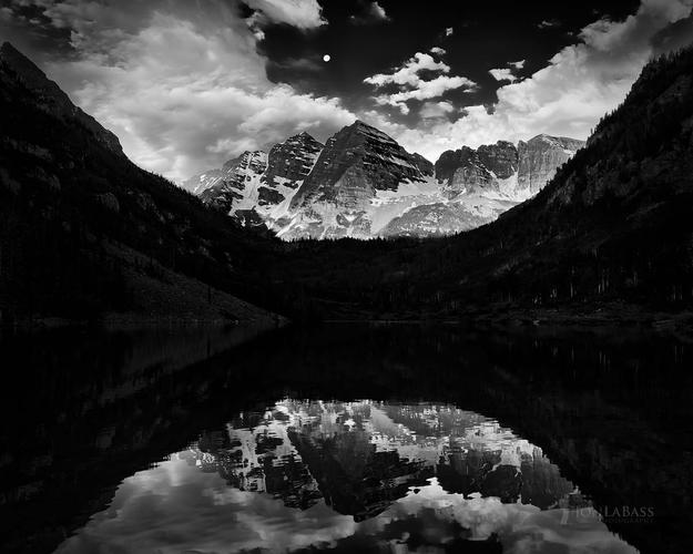 Alpenglow, Aspen, Aspen Trees, Black & White, Black and White, Clouds, Colorado, Colorado Rockies, Colorado Rocky Mountains, Elk Mountains, Maroon Bells, Maroon Lake, Moon, Moonset, Morning, Reflection, Rockies, Rocky Mountains, Sky, Snowmass Wilderness, Sunrise, United States, White River National Forest