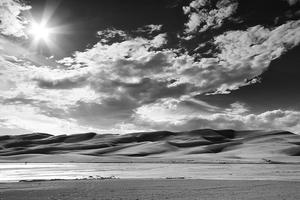 Afternoon, Atmosphere, Black & White, Black and White, Clouds, Colorado, Colorado Rockies, Colorado Rocky Mountains, Creek, Great Sand Dunes, National Parks, Sand, Sangre de Cristo Wilderness, Sky, Stream, Sunburst, Sunstar, United States, Water, Weather