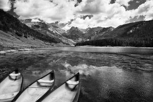 Colorado, Colorado Rockies, Colorado Rocky Mountains, Afternoon, White River National Forest, United States, Summer, Vail, Piney Lake, Clouds, Black and White, Black & White, Water, Reflection, Boats, Canoe