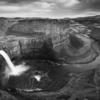 Black & White;Black and White;Canyon;Clouds;Curves;Evening;Horizon;River;Sky;Sunset;The Palouse;United States;Washington;Water;Waterfall