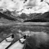 Colorado;Colorado Rockies;Colorado Rocky Mountains;Afternoon;White River National Forest;United States;Summer;Vail;Piney Lake;Clouds;Black and White;Black & White;Water;Reflection;Boats;Canoe